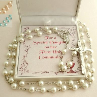 Rosary Beads for A Girl in a Gift Box with Card Choice | Heavens Blessings